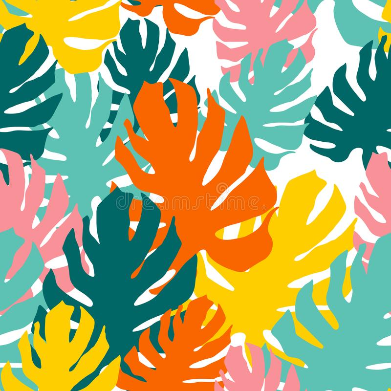 与妖怪叶子的无缝的样式 在拼贴画样式的重叠的艺术 明亮的热带墙纸 皇族释放例证