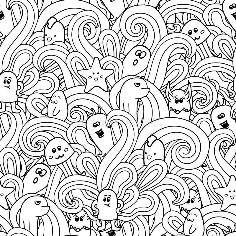 与妖怪的乱画传染媒介无缝的样式 滑稽的妖怪街道画 能为背景, T恤杉使用 库存例证