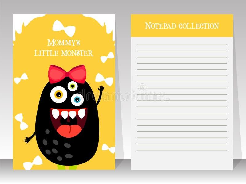 与妖怪的逗人喜爱的黄色笔记本模板 向量例证
