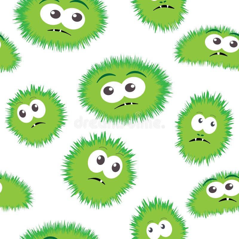 与妖怪面孔的无缝的样式细菌 导航与动画片滑稽的毒菌,逗人喜爱的妖怪的背景 皇族释放例证
