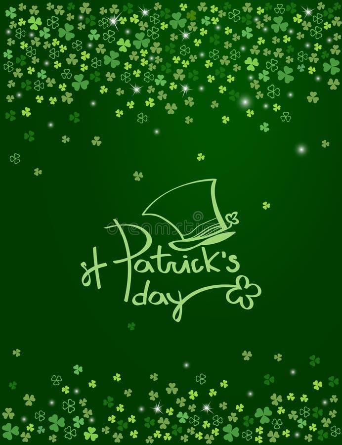 与妖精帽子的愉快的圣帕特里克` s天字法商标在闪耀的深绿三叶草背景 向量 库存例证
