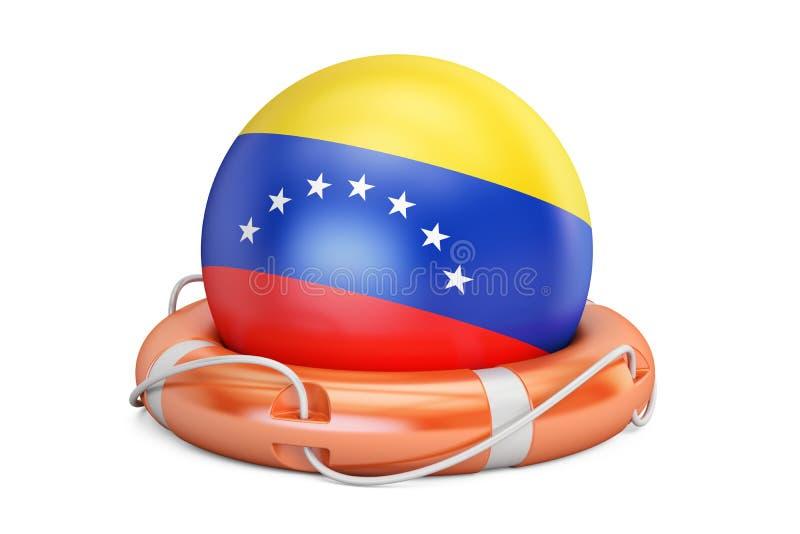 与委内瑞拉旗子,保险柜,帮助的救生带和保护概念 3d