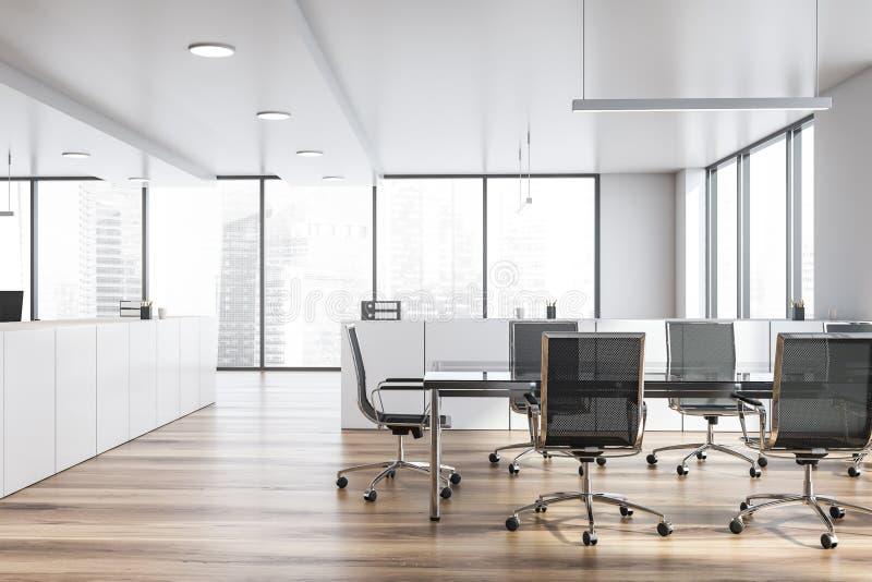 与委员会桌的现代白色空的办公室内部 3d回报 向量例证