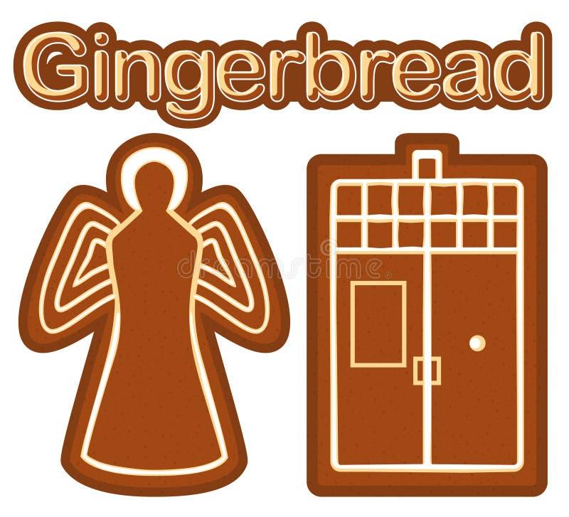 与姜面包曲奇饼天使和电话箱子的明亮的五颜六色的海报 库存例证