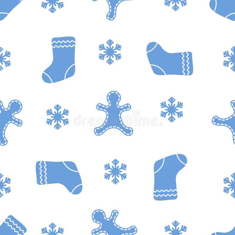 与姜饼人,圣诞节袜子,雪花的无缝的样式 圣诞节和新年2019年背景 包装的设计 向量例证
