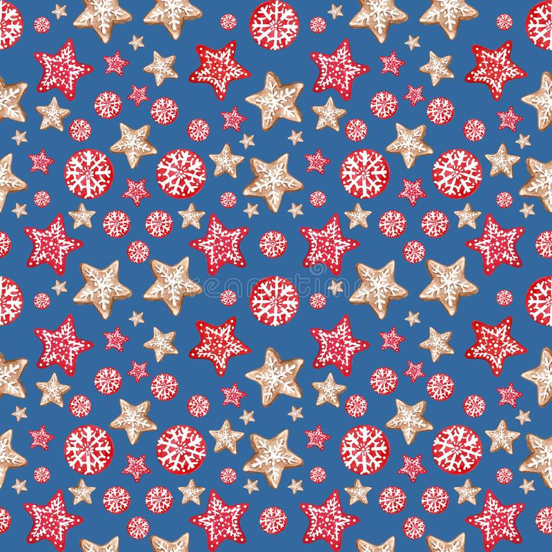 与姜饼曲奇饼星和雪花的冬天圣诞快乐和新年欢乐无缝的样式背景 免版税库存照片