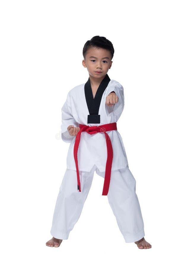 与姿势男孩战斗的主要传送带跆拳道运动员 库存图片
