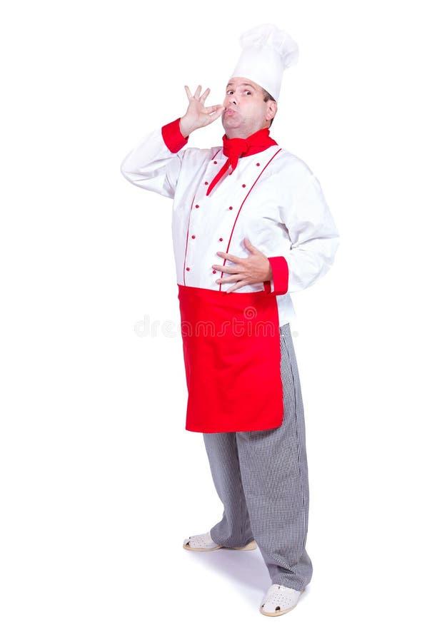 与姿态的快乐的厨师身分完善的 免版税图库摄影