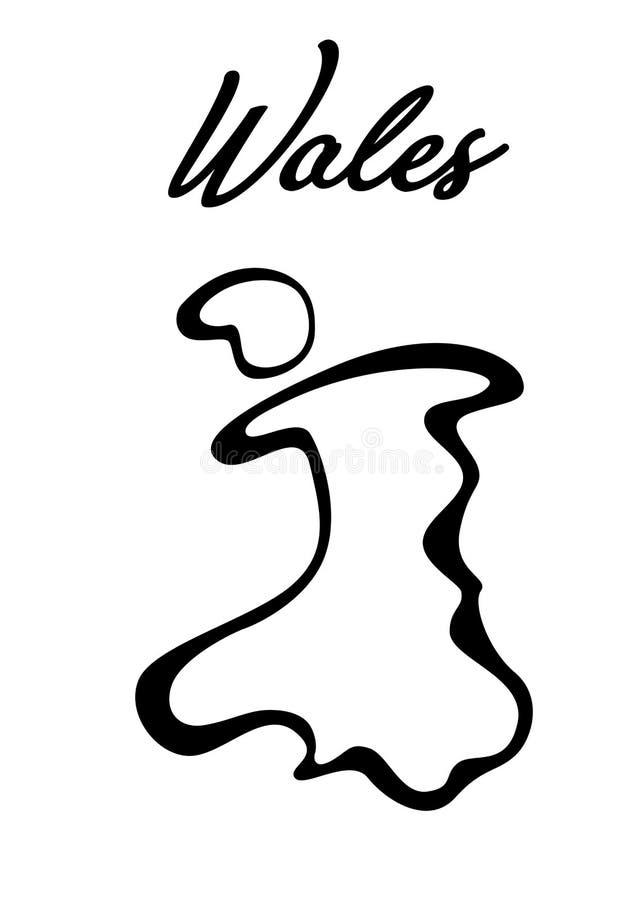 与威尔士的地图的例证 皇族释放例证