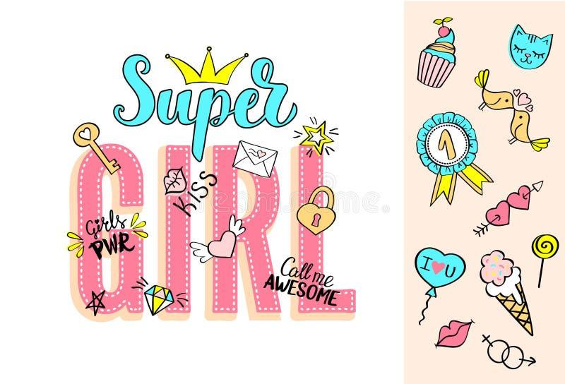 与娘儿们乱画和手拉的词组的超级女孩字法情人节卡片设计的,女孩` s T恤杉印刷品 皇族释放例证