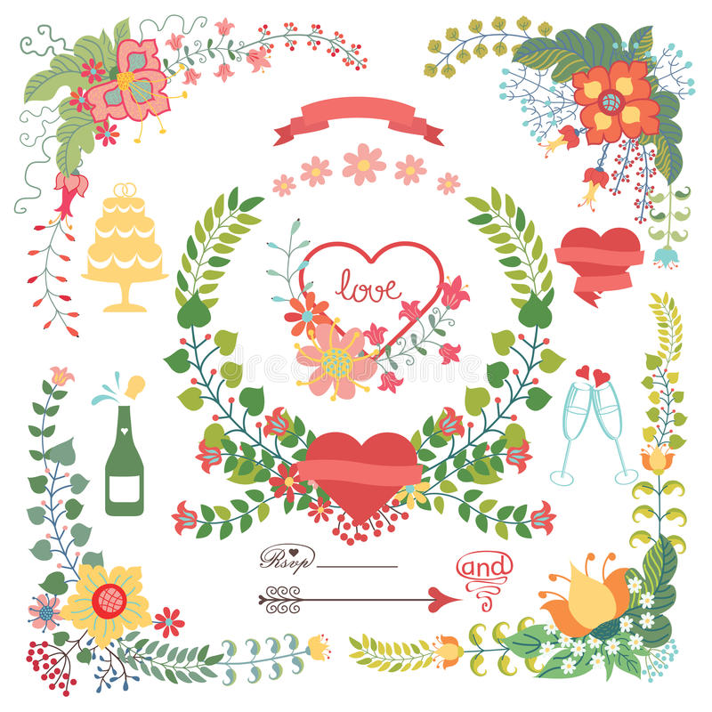 与婚礼元素的逗人喜爱的花卉集合 库存例证
