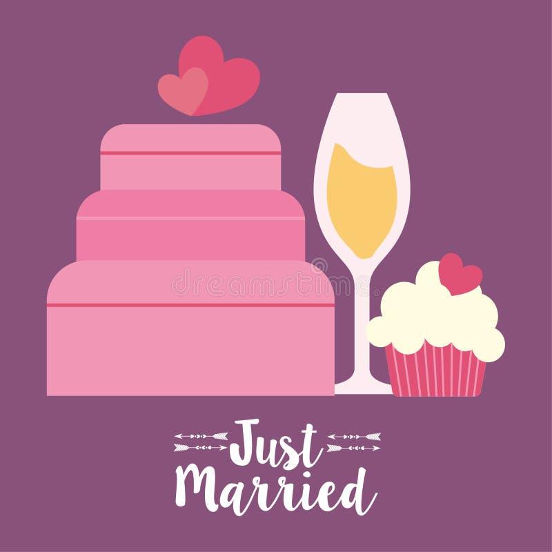 与婚礼的心脏的蛋糕和婚姻设计 皇族释放例证