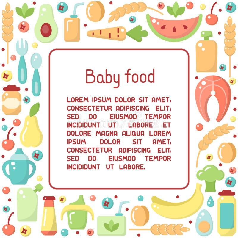 与婴儿食品标志和样品文本的方形的框架概念 皇族释放例证
