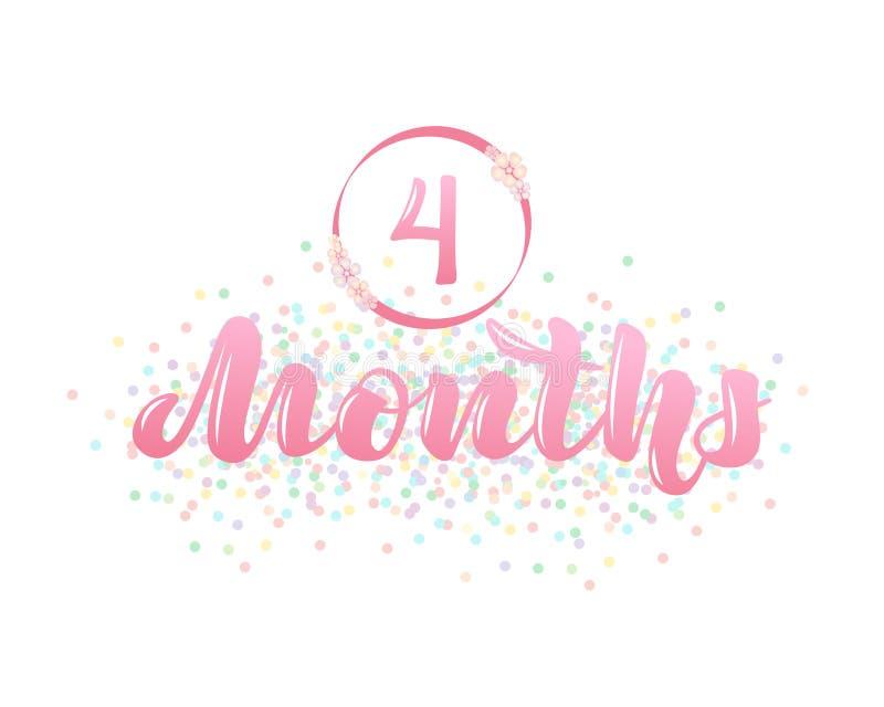 与婴孩年龄标志的传染媒介例证- 4个月 皇族释放例证