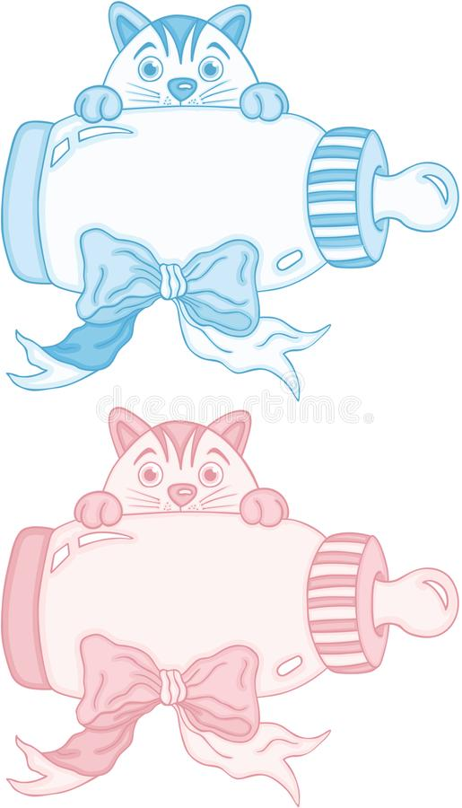 与婴孩牛奶瓶的蓝色和桃红色逗人喜爱的猫 皇族释放例证