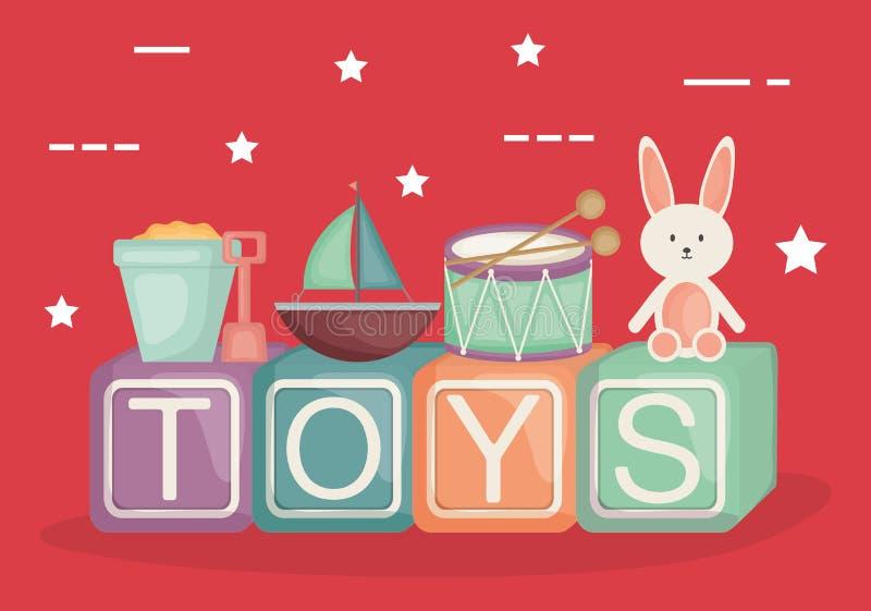 与婴孩玩具的按字母顺序的块 向量例证