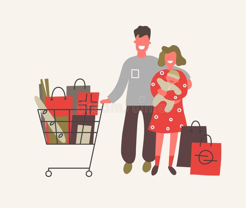 与婴孩的家庭有购买在购物 r 免版税库存图片