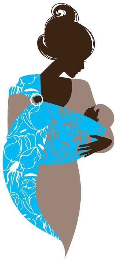 与婴孩的美丽的母亲剪影吊索的 皇族释放例证