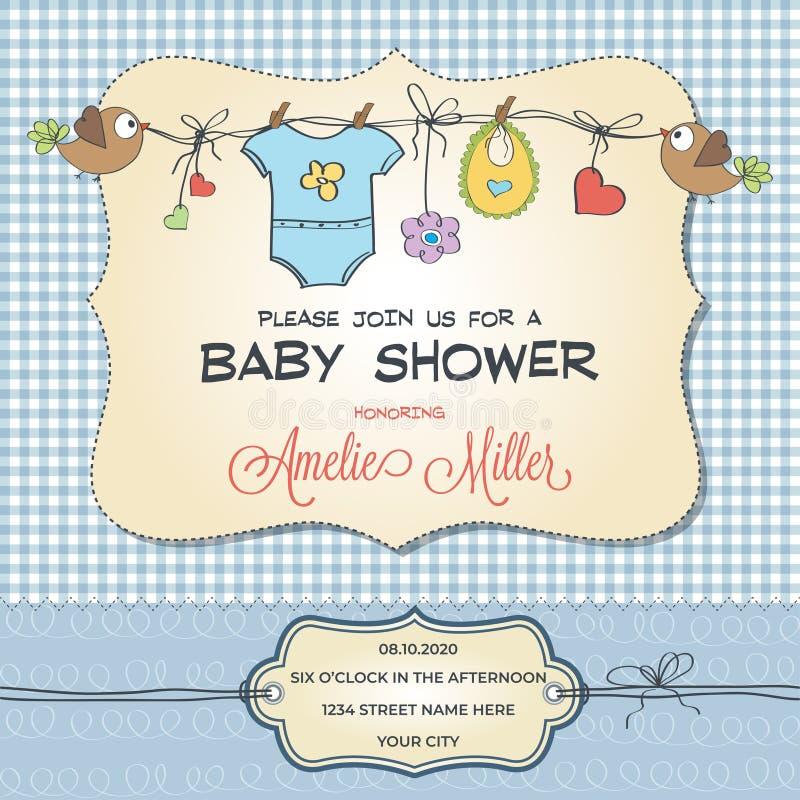 与婴孩衣物的婴儿送礼会卡片 向量例证