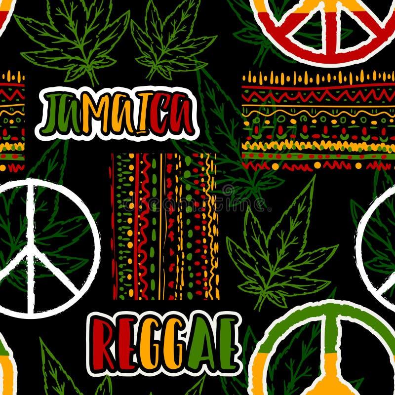 与嬉皮和平标志、大麻叶子和种族装饰品的无缝的样式 牙买加题材 向量例证