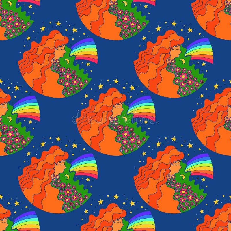 与嬉皮女孩和彩虹的无缝的样式 荧光的r 向量例证