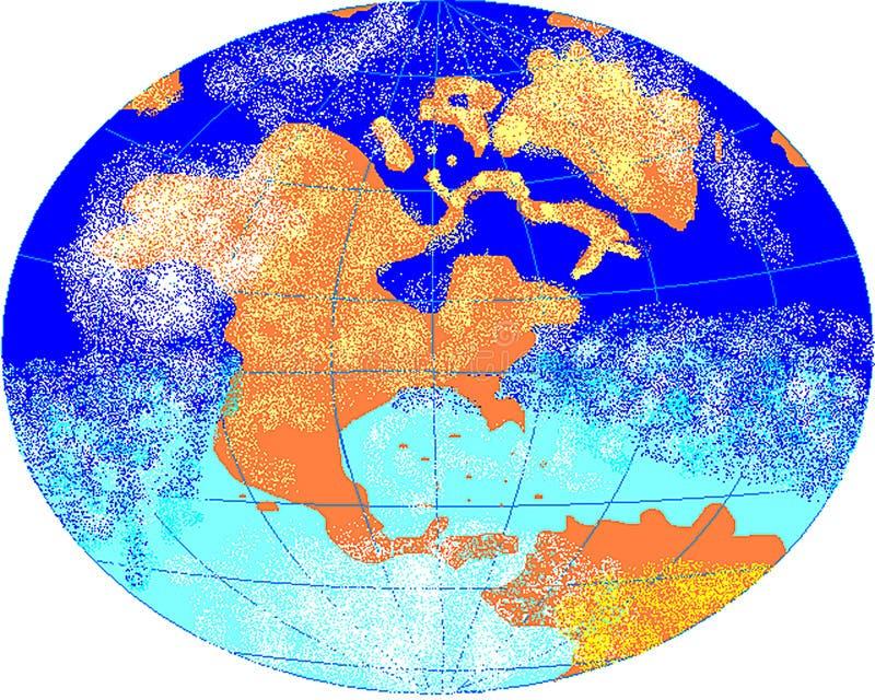 与子午线的地球和平行和云彩 r 库存照片