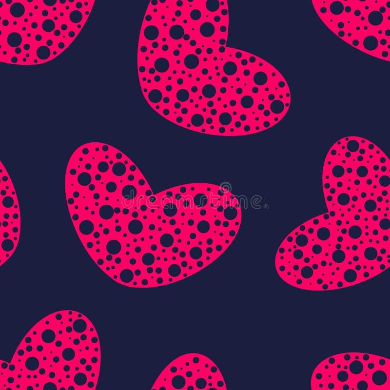 与孔无缝的样式的桃红色心脏 皇族释放例证