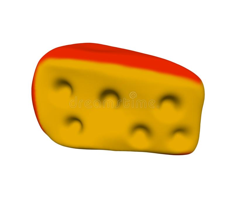 与孔的乳酪与在白色背景隔绝的一个红色外壳3D例证 向量例证