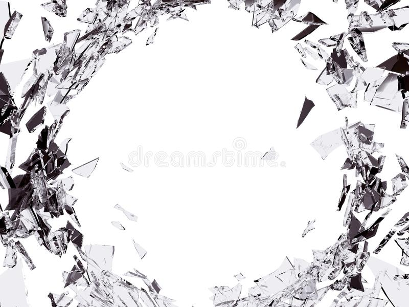 与孔的破坏被打碎的或被拆毁的玻璃 库存例证