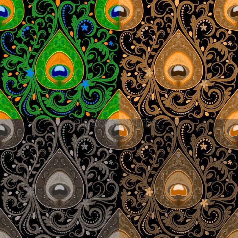 与孔雀的传统无缝的佩兹利样式用羽毛装饰元素 皇族释放例证
