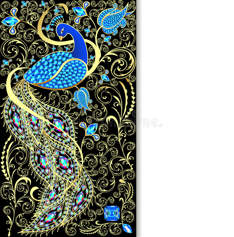 与孔雀的例证背景与金装饰品和prec 库存例证