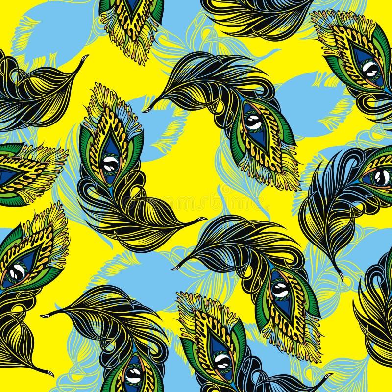 与风格化孔雀羽毛的传染媒介无缝的样式 向量例证