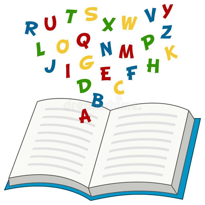 与字母表信件的动画片开放书 向量例证