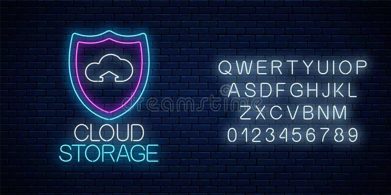 与字母表的云彩存贮服务发光的霓虹灯广告 互联网与盾和云彩的技术标志 向量例证