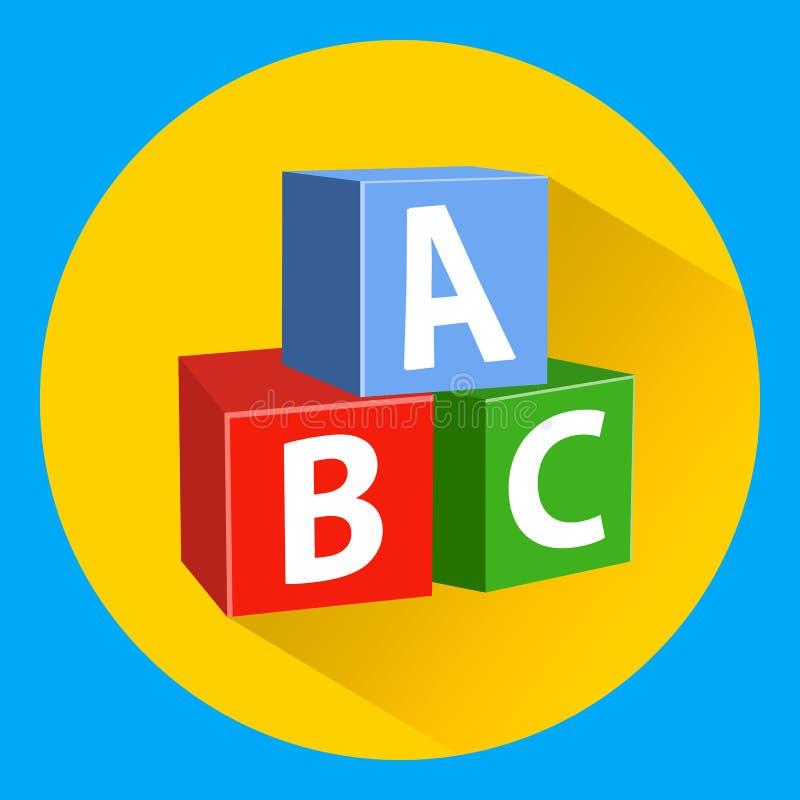 与字母表的儿童` s教育块 库存例证