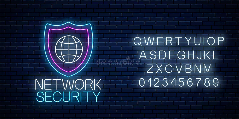 与字母表的网络安全发光的霓虹灯广告 互联网与盾和地球的保护标志 r 库存例证