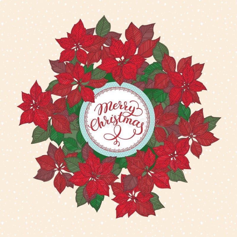 与字法和圣诞节星花纹花样的圣诞卡片在雪背景 库存例证