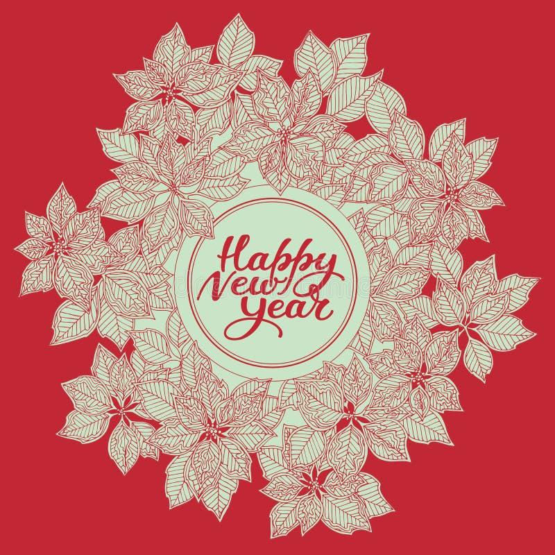 与字法和圣诞节星花纹花样的新年卡片在红色背景 向量例证