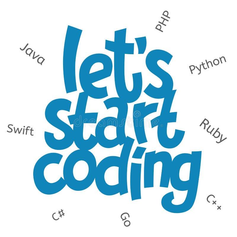 与字法的传染媒介图象让我们开始编码 编码题材文本的孩子与编程语言 向量例证