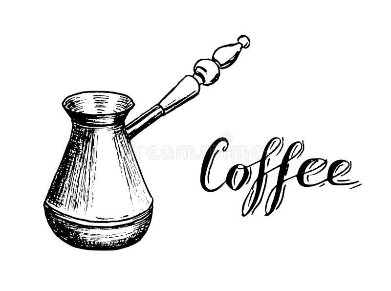 与字法的土耳其咖啡制造商Cezve手拉的剪影 向量例证