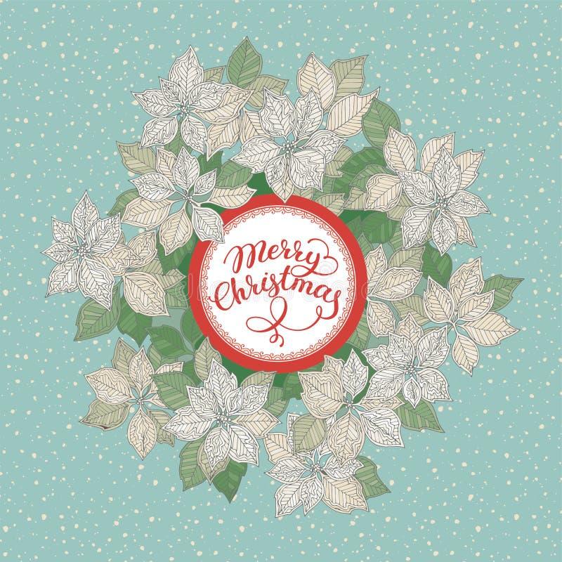 与字法的圣诞卡片和白色圣诞节快乐担任主角在蓝色雪背景的花纹花样 向量例证