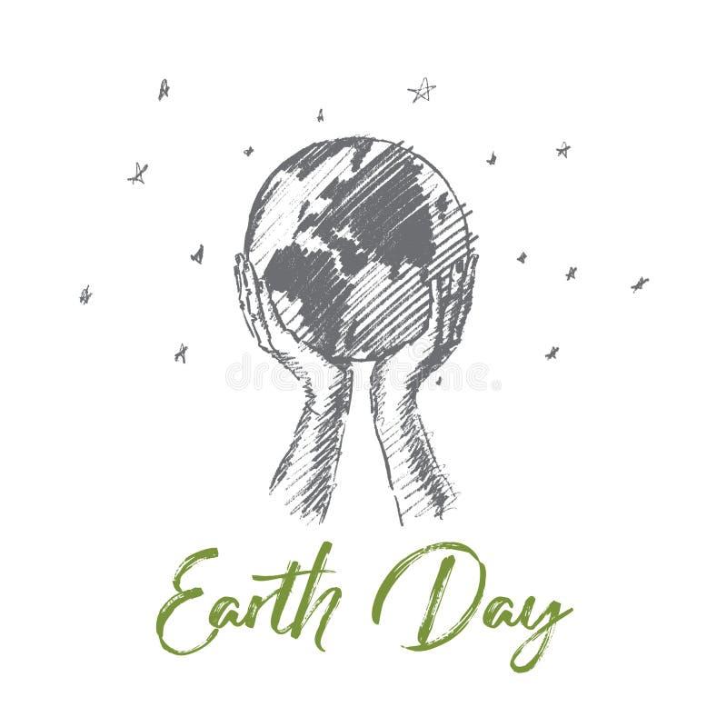 与字法的手拉的地球日概念 库存例证