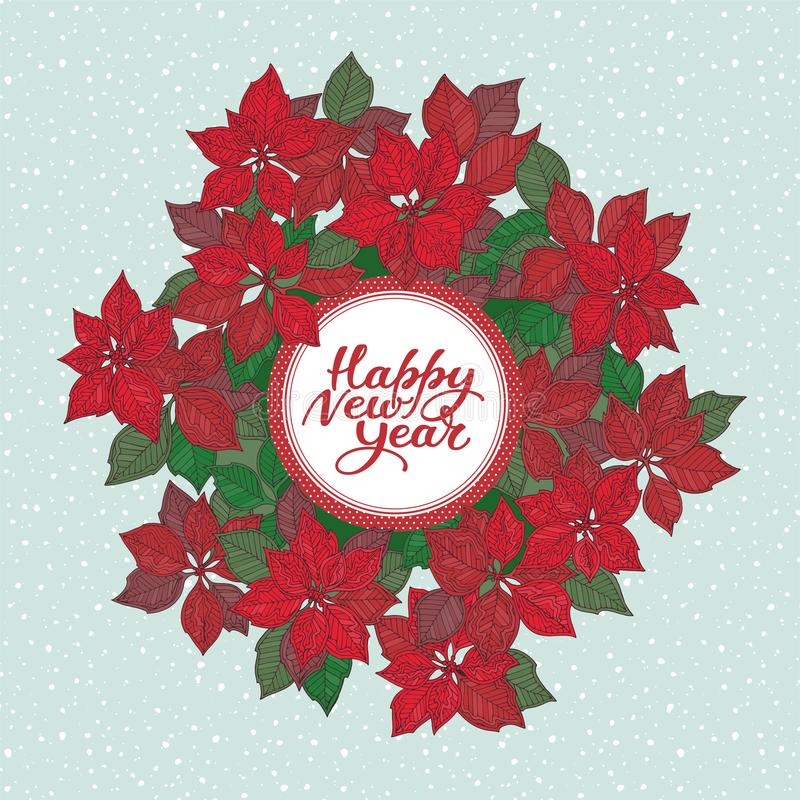 与字法的新年卡片和圣诞节担任主角在蓝色雪背景的花纹花样 皇族释放例证
