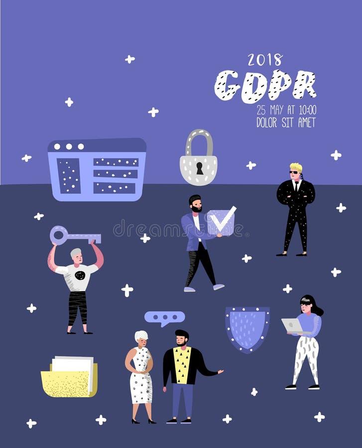 与字符的一般数据保护章程概念海报的,横幅 个人数据的GDPR原则 向量例证
