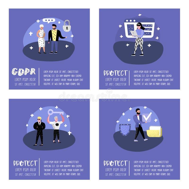 与字符的一般数据保护章程概念海报的,横幅 个人数据的GDPR原则 库存例证