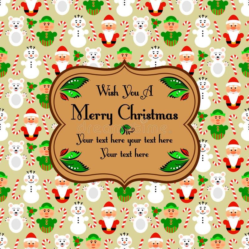 与字符的圣诞节无缝的卡片,米黄 库存例证