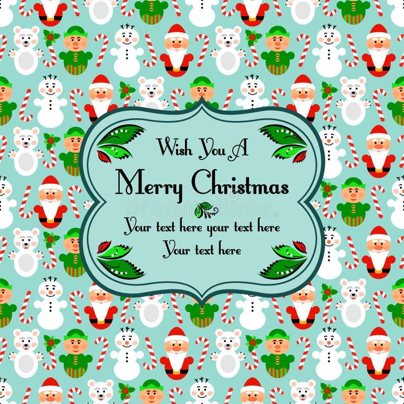 与字符的圣诞节无缝的卡片,蓝色 皇族释放例证