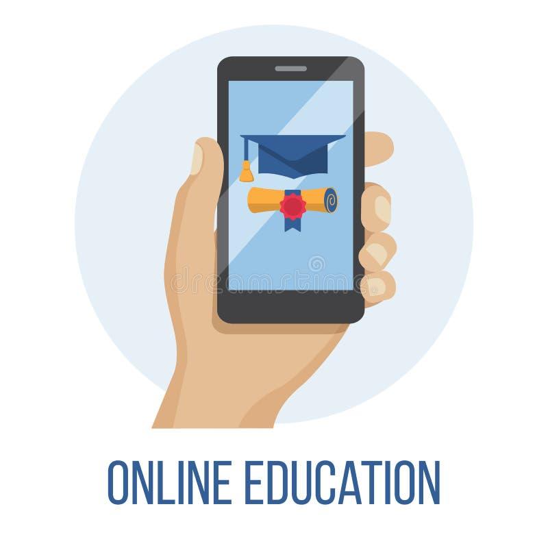 与字符的网上课程概念 平的教育,训练,网上讲解,电子教学概念 库存例证