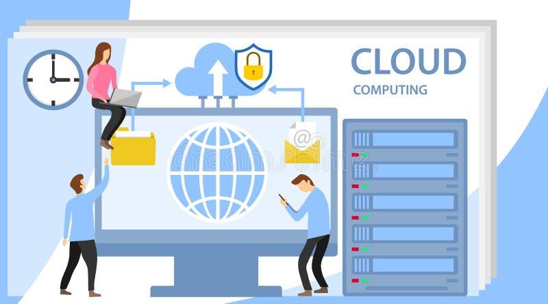 与字符的网络主持概念 技术支持系统  互动与技术云彩存贮的人们 向量例证
