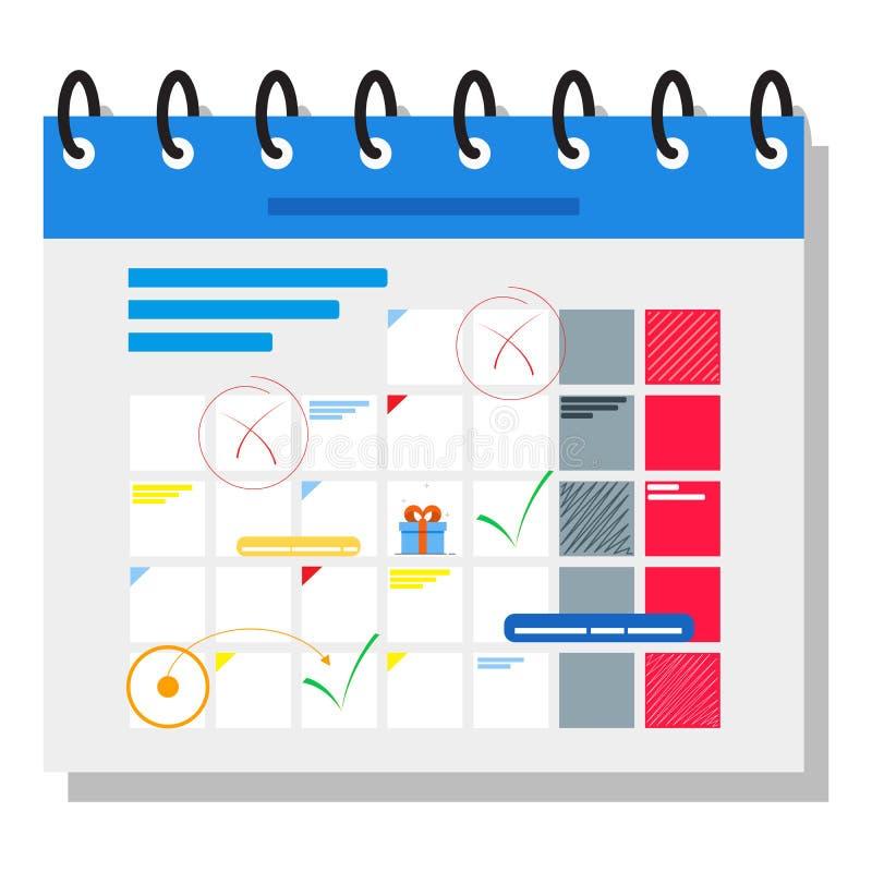 与字符的计划的日程表概念横幅 能为网横幅, infographics,英雄图象使用 平的等量传染媒介 库存例证